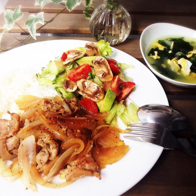 鶏ハラミ&玉ねぎ炒めご飯 10分