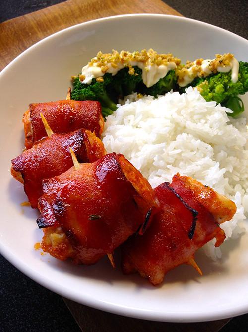 甘辛美味★鶏ささみのベーコン巻き