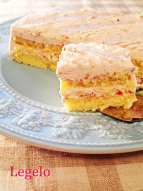 ぶどうジャムヨーグルトクリームのケーキ