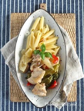 鶏モモと夏野菜の塩レモンマリネ