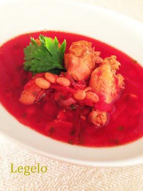 素材の旨み♪ビーツ&手羽元&大豆のスープ