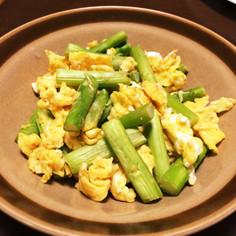 シンプル☆アスパラと卵の炒め物