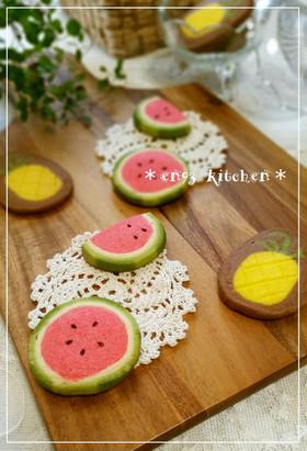 *夏*スイカのアイスボックスクッキー♡