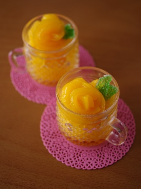 黄桃の贅沢ソルベ☆缶詰で簡単シャーベット