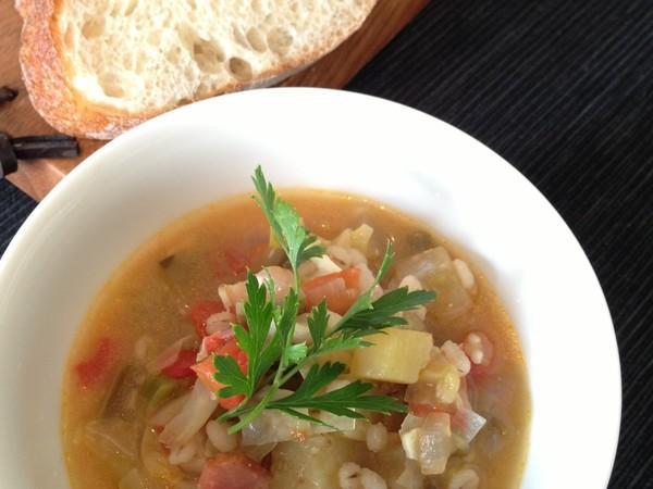 夏野菜と雑穀の和風ミネストローネ