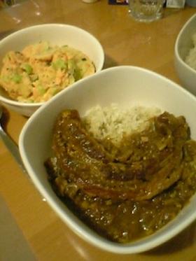 お肉どーんと豚バラ塊肉でスタミナカレー