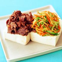 牛肉のしょうゆ炒めとナムル豆腐