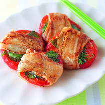 トマトと青じその豚肉巻き焼き