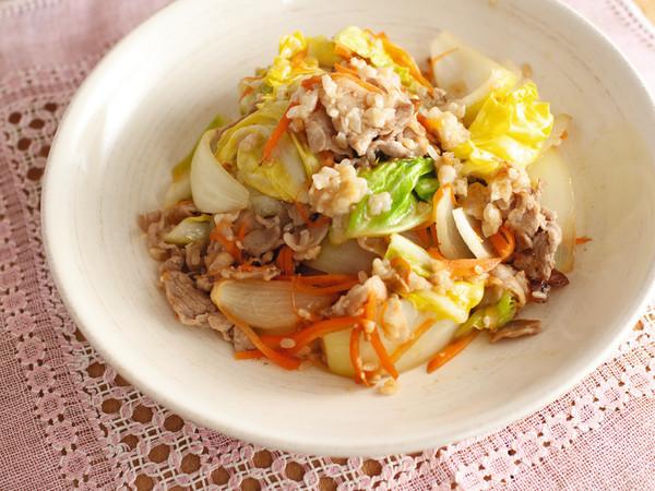 豚こまの塩麹野菜炒め