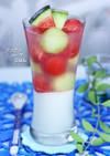 ココナッツミルクと夏フルーツの寒天ゼリー