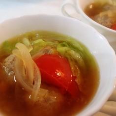 グリコラーメンスープでトマト肉団子スープ