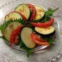 絶品、水ナス、トマト大葉の和風カプレーゼ