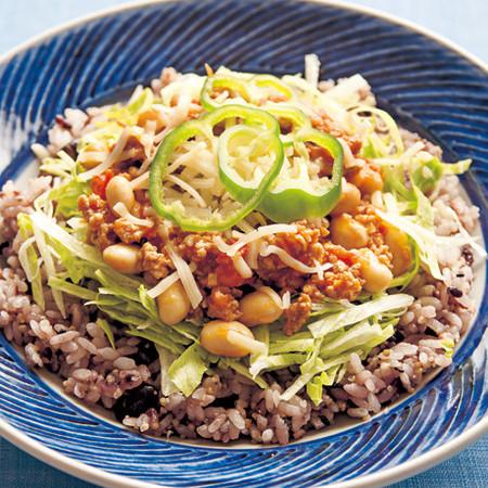 十六穀米のお豆タコライス