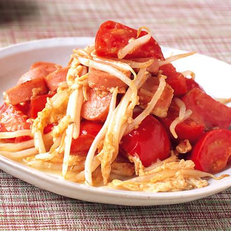 魚肉ソーセージとトマトのチャンプルー