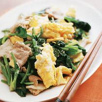 豚肉とほうれん草の卵炒め