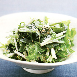 わかめと水菜のごまマヨサラダ
