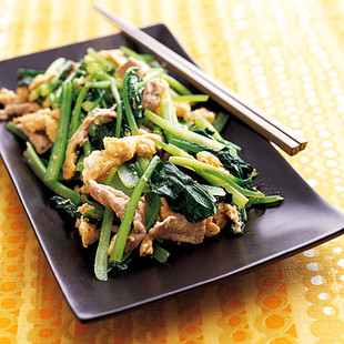 小松菜と豚肉の中華炒め
