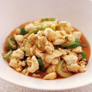 豆腐のラー油炒め