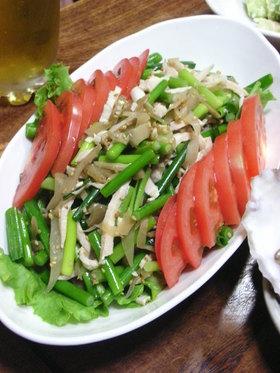 ニンニクの芽とザーサイでサラダ
