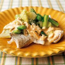 白身魚と野菜のレンジ蒸し