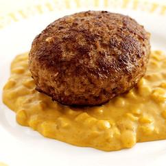 カレークリームソースのチーズハンバーグ