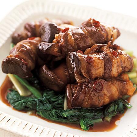 肉巻きエリンギの黒酢照り煮