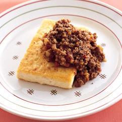 豆腐ステーキのトマトミートソース