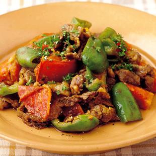 牛肉とトマトのカレー炒め