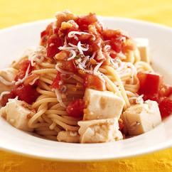 豆腐とトマトの冷製パスタ