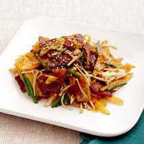 豚バラと彩り野菜の酢じょうゆ炒め