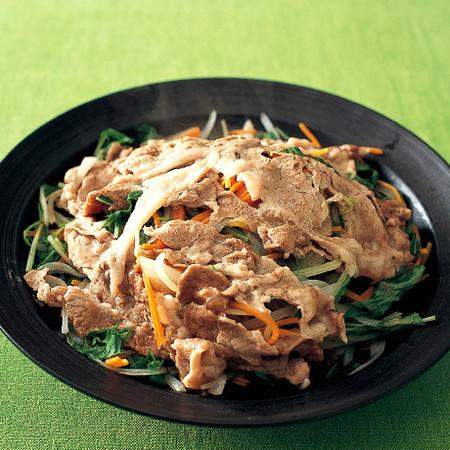 豚と野菜のレンジ蒸ししゃぶ