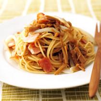 ベーコンとなめたけのスパゲッティ