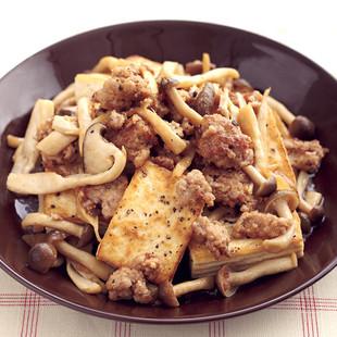 豚ひき肉と豆腐のバターじょうゆ炒め