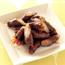 ごぼうとにんじんの肉巻き照り煮