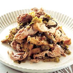 豚こまと厚揚げの高菜炒め
