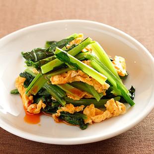 小松菜のピリ辛卵炒め