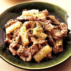 豚と長いものガーリックバター炒め