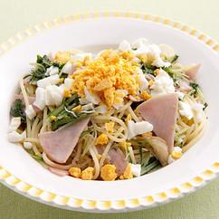 水菜とハムのミモザ風パスタ