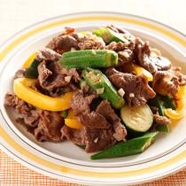 牛肉と夏野菜のバターじょうゆ炒め