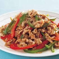 豚肉と彩りパプリカの青椒肉絲