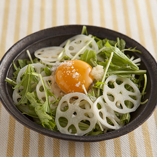 水菜とれんこんの卵黄あえ