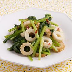 小松菜とちくわのピリ辛炒め