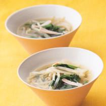 もやしとハムの中華スープ