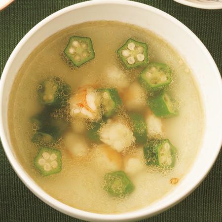 えびとオクラのスープ