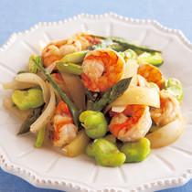 えびと緑野菜のガーリック炒め