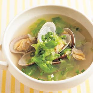 レタスとあさりの和風スープ