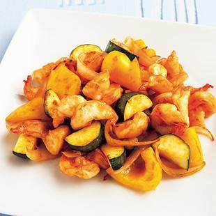 えびと夏野菜の甘酢炒め
