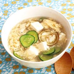 きゅうりのとろとろ卵スープ