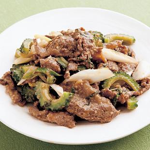 牛肉とゴーヤーのしそみそ炒め