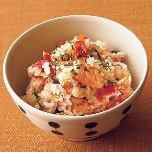 鮭とミニトマトのバター風味炊き込みご飯